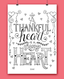 Thanksgiving word art coloring page