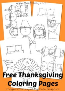 free thanksgiving coloring page set