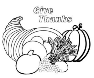 Cornucopia thanksgiving printable coloring sheet