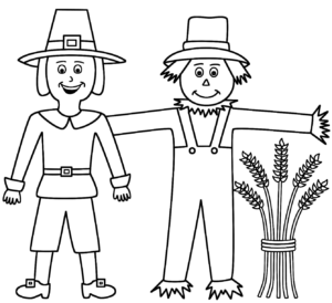 Scarecrow and pilgrim coloring page